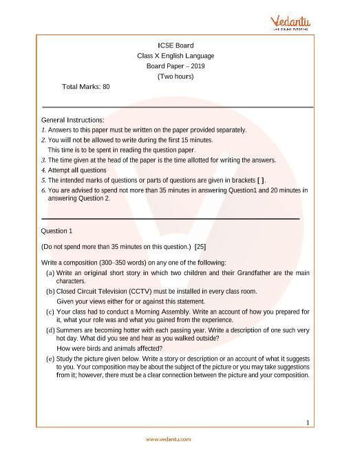 ICSE_Class 10_English_Year 2019 part-1