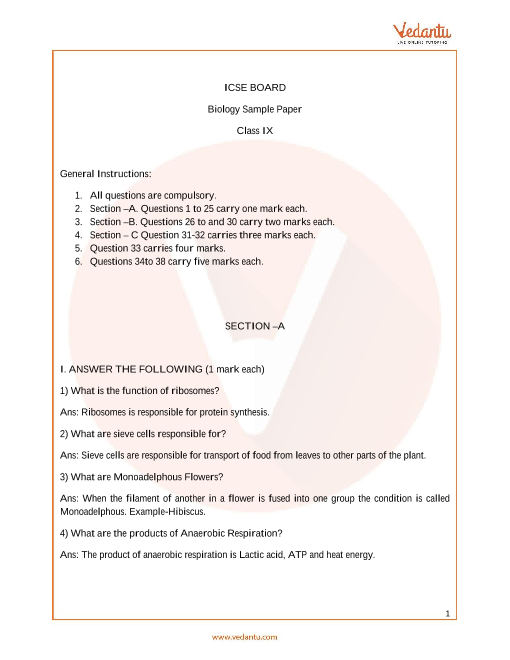 ICSE_Class 09_Biology_Sample paper_2 part-1