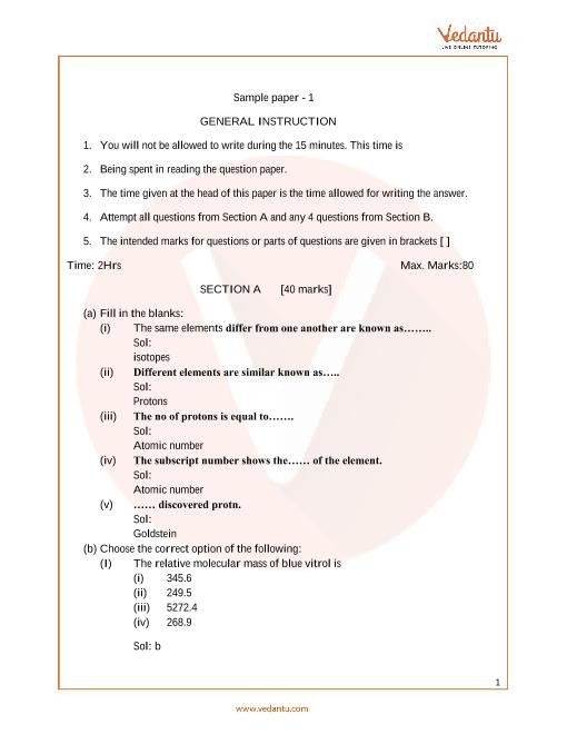ICSE_Class 09_Chemistry_Sample paper_2 part-1