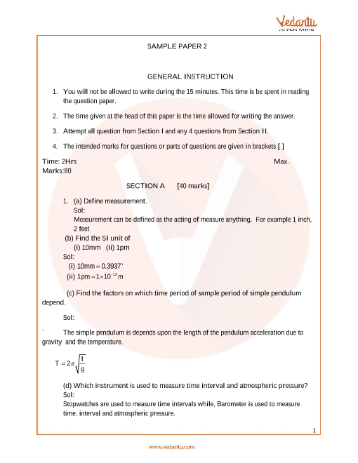 ICSE Sample Papers for Class 9 Physics Paper 2 (2019-2020)