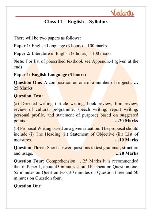 ISC Class 11 English Syllabus part-1