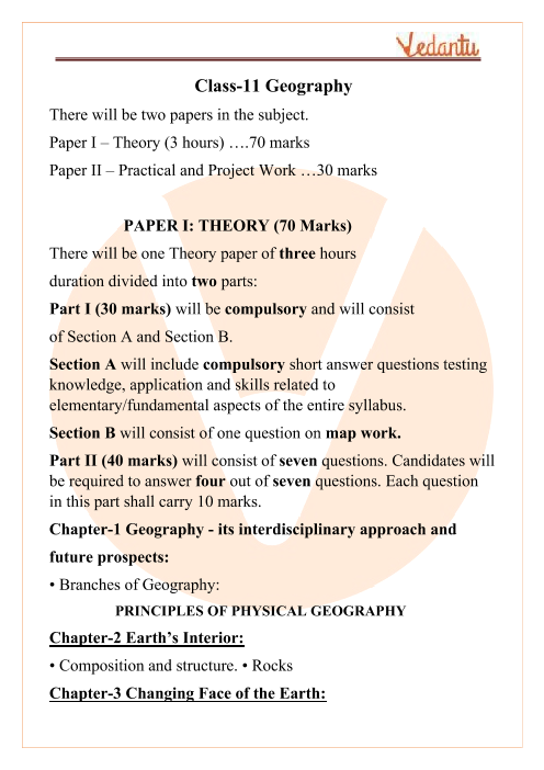 ISC Class 11 Geography Syllabus part-1