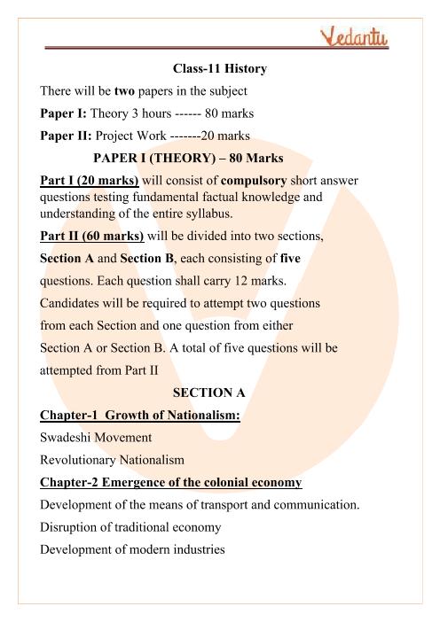 ISC Class 11 History Syllabus part-1