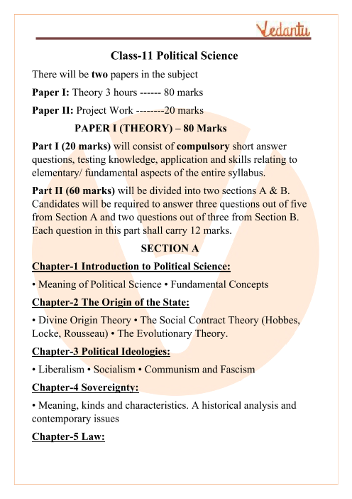 ISC Class 11 Political Science Syllabus part-1