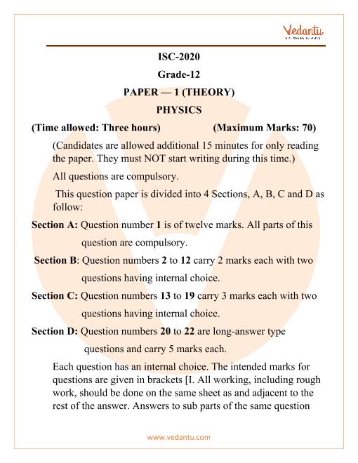 ISC Class 12 Physics Question Paper 2020 part-1