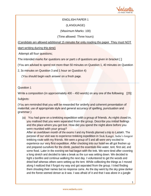 Previous Year English Language Question Paper for ISC Class