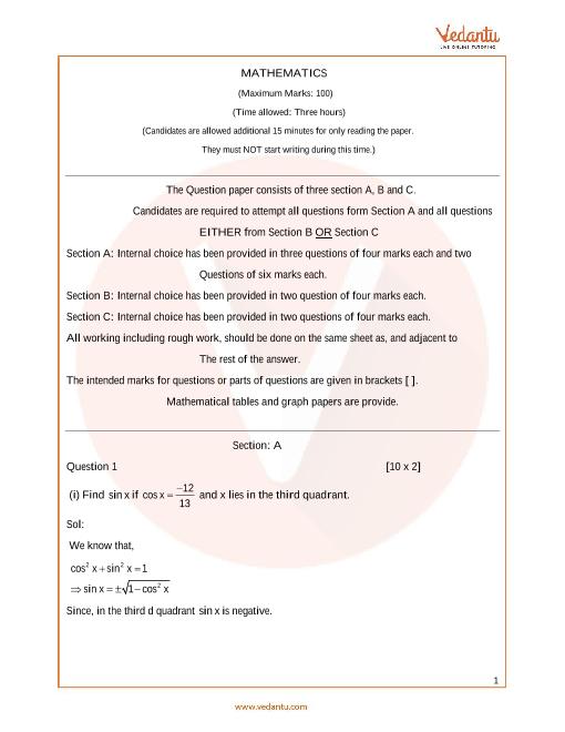 ISC_Class 11_Maths_Sample paper_1 part-1