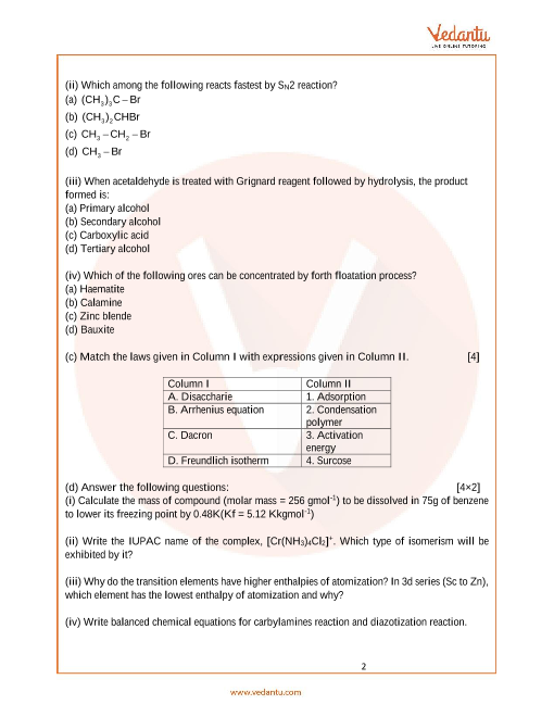 ISC Sample Papers for Class 12 Chemistry Paper 2 (2019-2020)