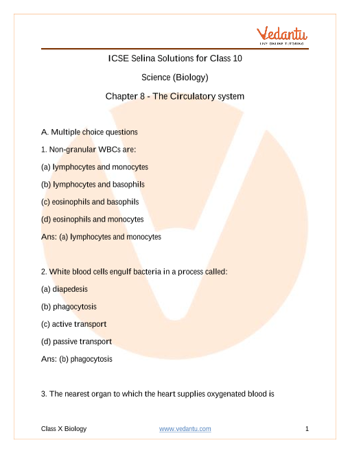 Concise Biology Class 10 ICSE Solutions Chapter 8 The circulatory system part-1