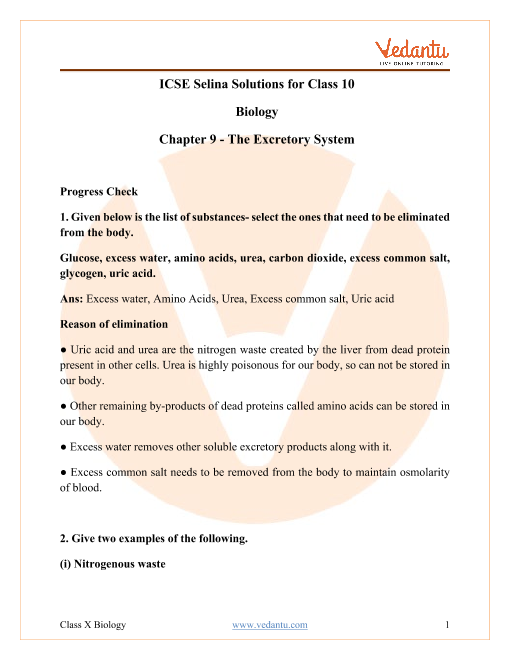 Concise Biology Class 10 ICSE Solutions Chapter 9 The Excretory system part-1