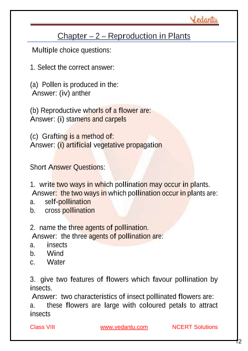 Concise Biology Class 8 ICSE Solutions for Chapter 2 Reproduction in Plants part-1