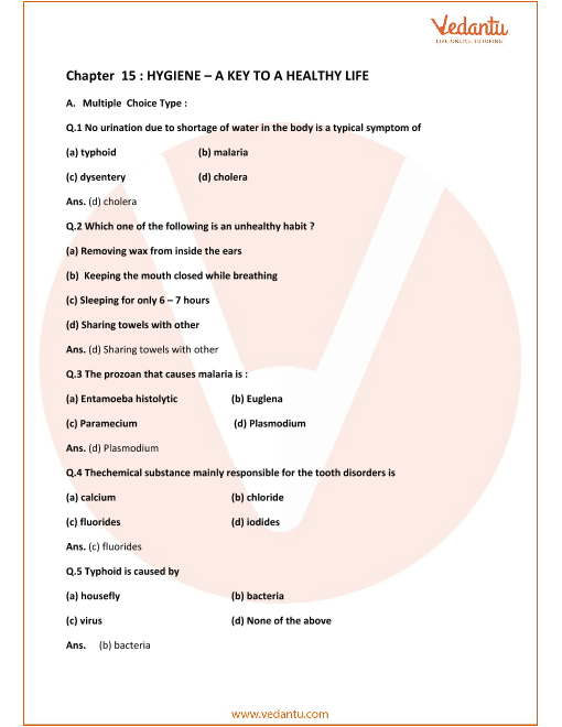Concise Biology Class 9 ICSE Solutions Chapter 15 Hygiene A Key To Healthy Life part-1
