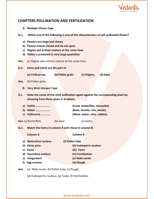 Concise Biology Class 9 ICSE Solutions Chapter 5 Pollination And Fertilization part-1