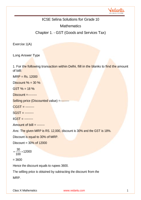 Selina Concise Mathematics Class 10 ICSE Solutions for Chapter 1 GST (Goods and Services Tax) part-1