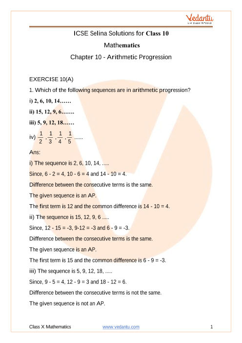 Selina Concise Mathematics Class 10 ICSE Solutions for Chapter 10 Arithmetic Progression part-1