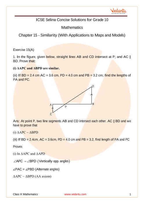Selina Concise Mathematics Class 10 ICSE Solutions for Chapter 15 Similarity (With Applications to Maps and Models) part-1