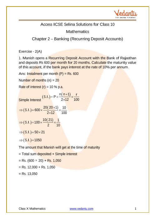 Selina Concise Mathematics Class 10 ICSE Solutions for Chapter 2 Banking (Recurring Deposit Accounts) part-1