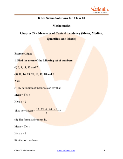 Selina Concise Mathematics Class 10 ICSE Solutions for Chapter 24 Measures of Central Tendency (Mean, Median, Quartiles and Mode) part-1
