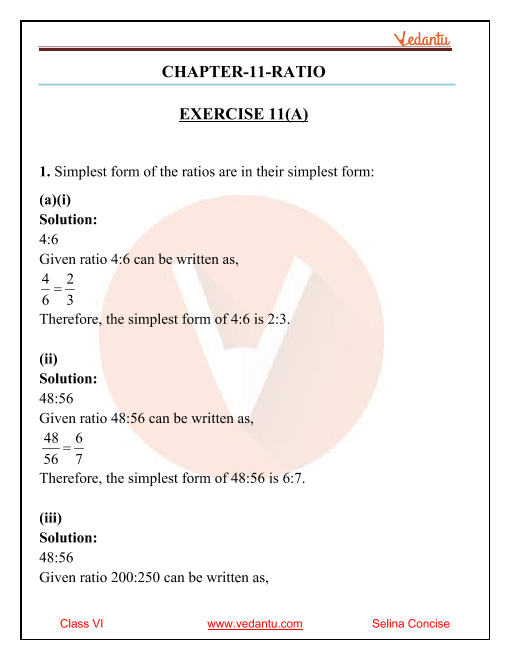 Selina Concise Mathematics Class 6 ICSE Solutions for Chapter 11 Ratio part-1