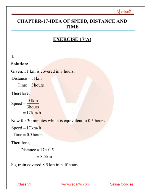 Selina Concise Mathematics Class 6 ICSE Solutions for Chapter 17 Idea of Speed, Distance and Time part-1
