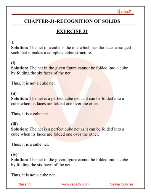 Selina Concise Mathematics Class 6 ICSE Solutions for Chapter 31 Recognition of Solids part-1