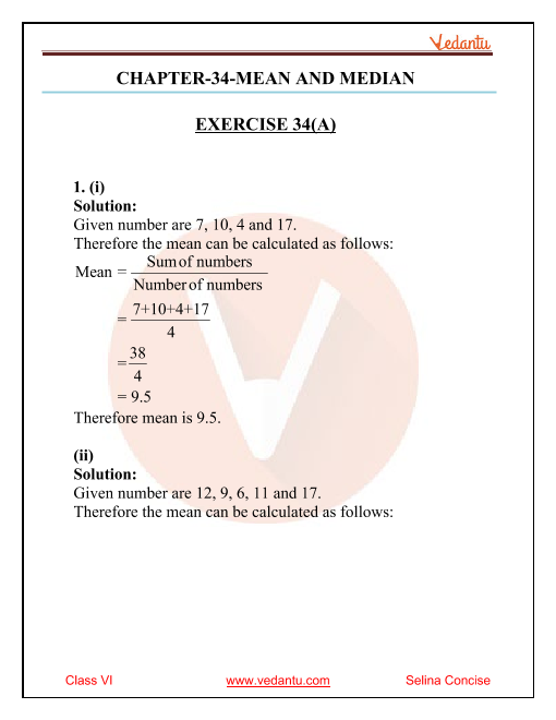 Selina Concise Mathematics Class 6 ICSE Solutions for Chapter 34 Mean and Median part-1