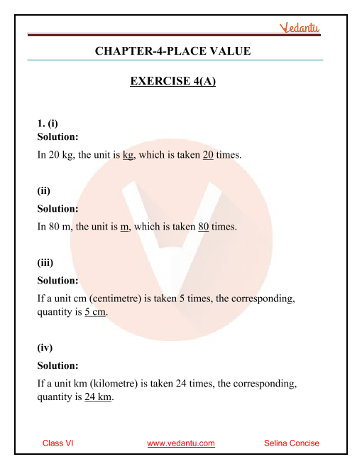 Selina Concise Mathematics Class 6 ICSE Solutions for Chapter 4 Place Value part-1
