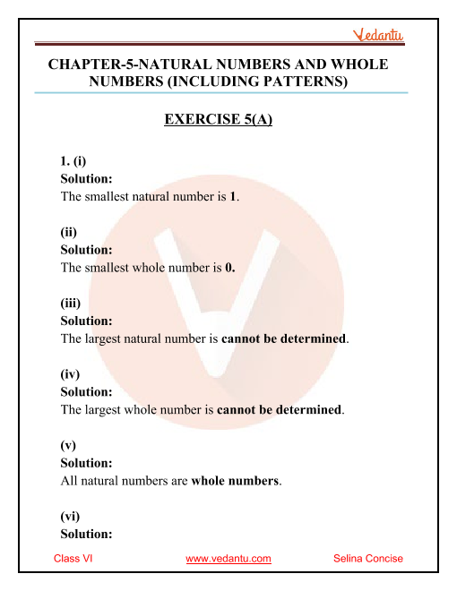 Selina Concise Mathematics Class 6 ICSE Solutions for Chapter 5 Natural Numbers and Whole Numbers (Including Patterns) part-1
