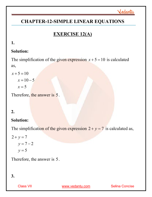 Selina Concise Mathematics Class 7 ICSE Solutions for Chapter 12 Simple Linear Equations part-1