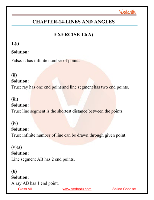 Selina Concise Mathematics Class 7 ICSE Solutions for Chapter 14 Lines and Angles part-1