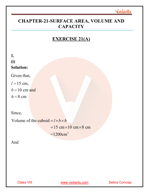 Selina Concise Mathematics Class 8 ICSE Solutions for Chapter 21 Surface Area, Volume and Capacity (Cuboid, Cube and Cylinder) part-1