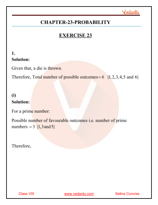 Selina Concise Mathematics Class 8 ICSE Solutions for Chapter 23 Probability part-1