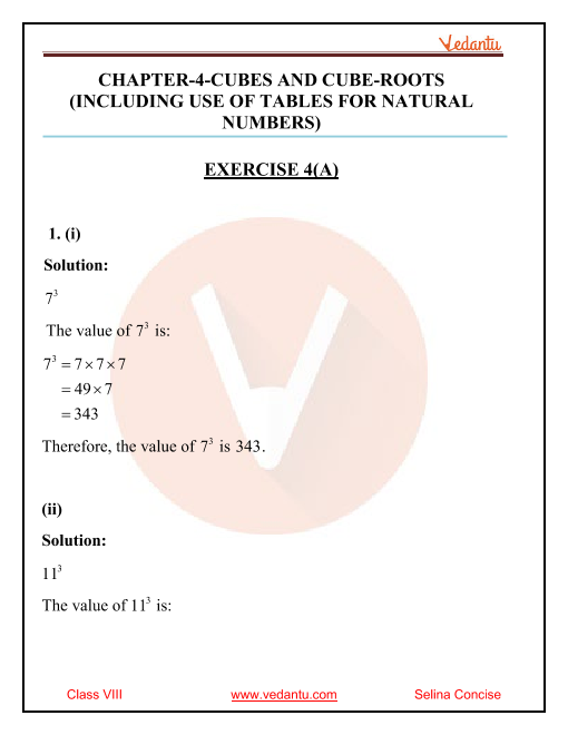 Selina Concise Mathematics Class 8 ICSE Solutions for Chapter 4 Cubes and Cube Roots part-1
