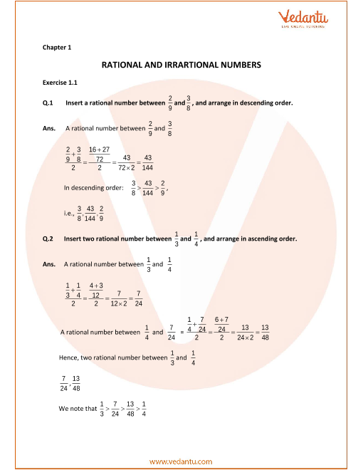 Selina Concise Mathematics Class 9 ICSE Solutions for Chapter 1 Rational and Irrational Numbers part-1