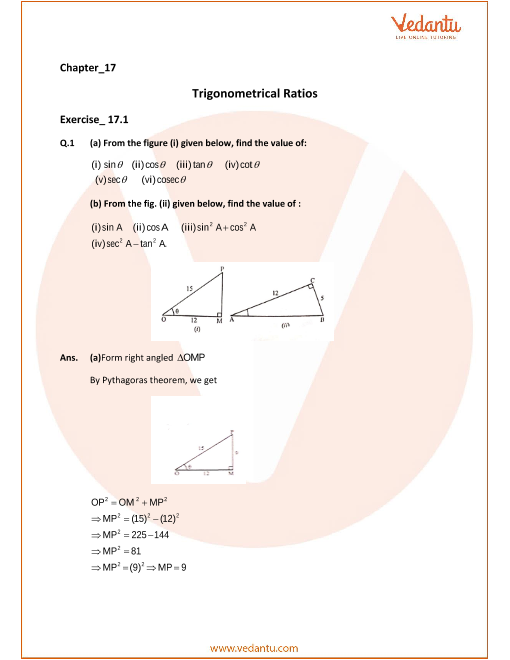 Selina Concise Mathematics Class 9 ICSE Solutions for Chapter 17  Trigonometrical Ratios part-1