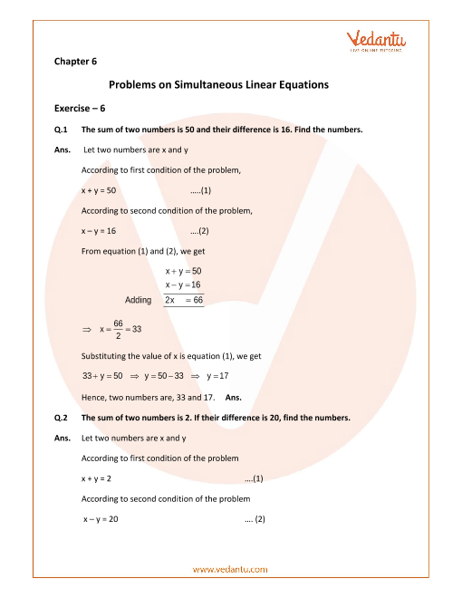 Selina Concise Mathematics Class 9 ICSE Solutions for Chapter 6 Problems on Simultaneous Linear Equations part-1