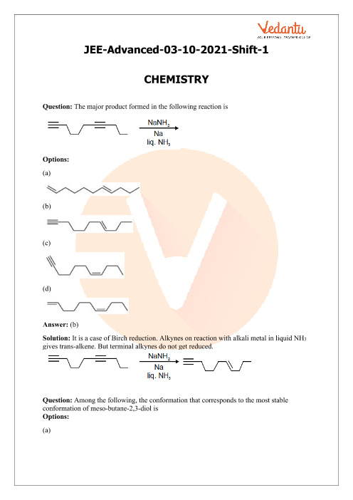 JEE Advanced 2021 Chemistry Question Paper 1 with Solutions part-1