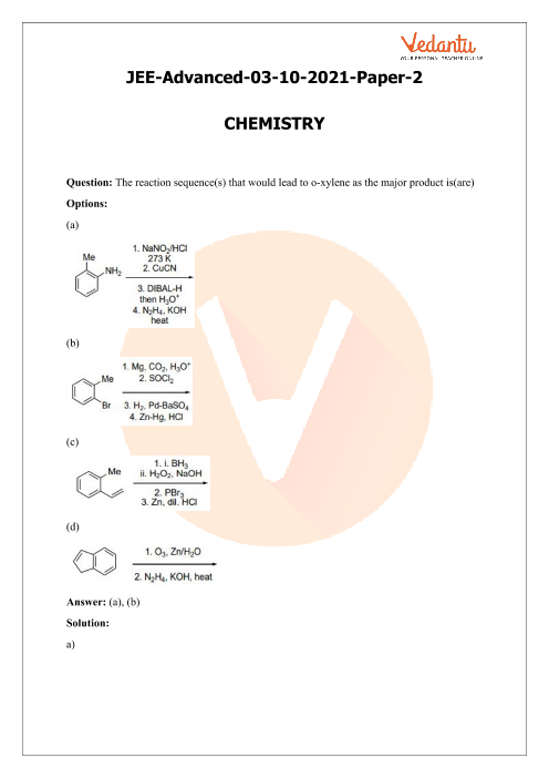 JEE Advanced 2021 Chemistry Question Paper 2 with Solutions part-1