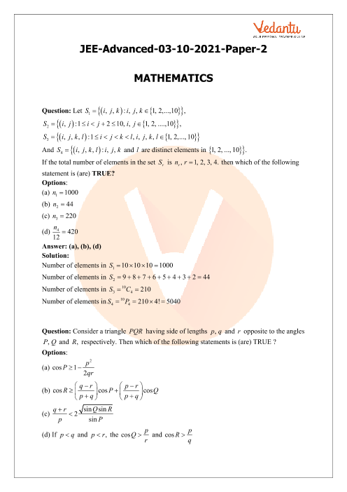 JEE Advanced 2021 Maths Question Paper 2 with Solutions part-1
