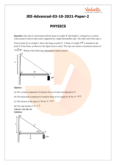 JEE Advanced 2021 Physics Question Paper 2 with Solutions part-1