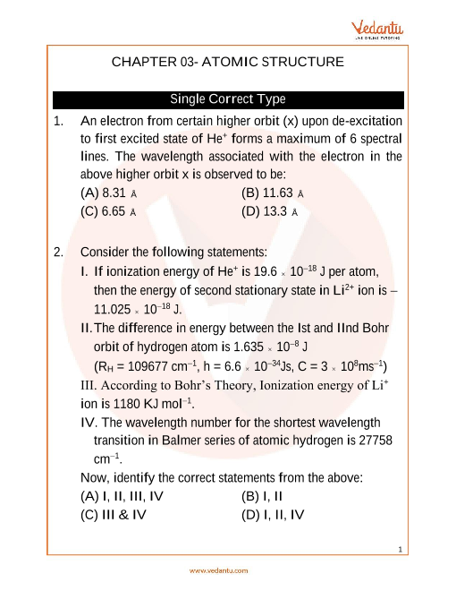 Jee Advanced Atomic Structure Important Questions