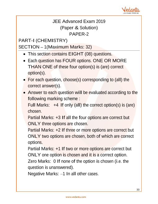 JEE Advanced 2019  Chemistry Question Paper 2 part-1