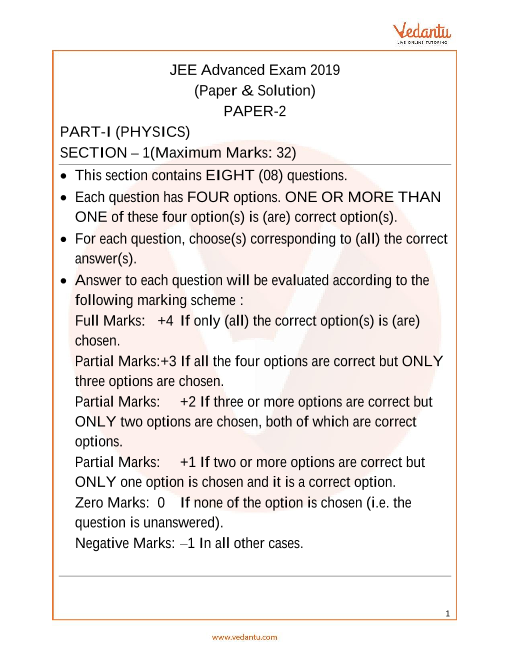 JEE Advanced 2019 Physics Question Paper 2 part-1