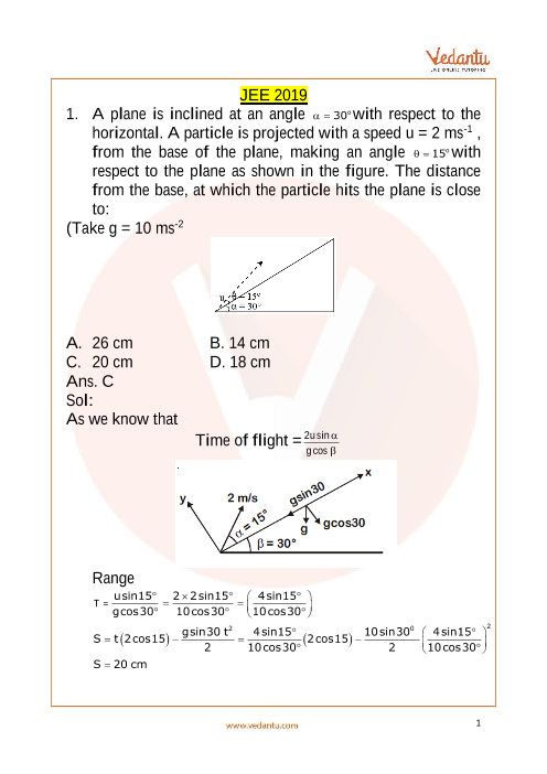 JEE Main 10 April 2019 Question Paper Evening Shift 2 part-1