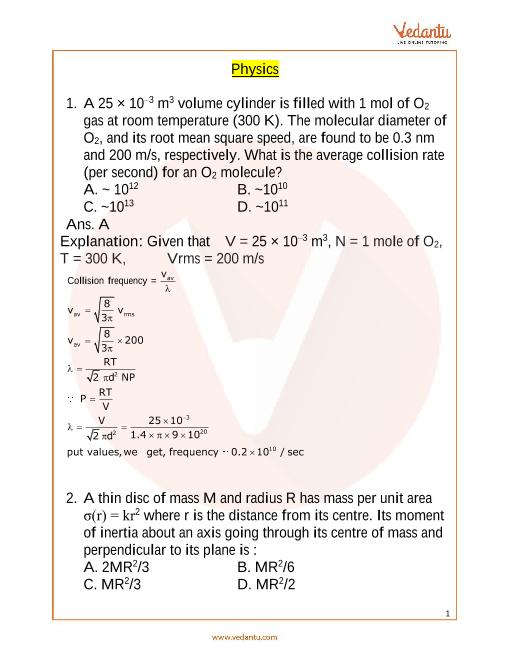JEE Main 10 April 2019 Question Paper Morning Shift 1 part-1