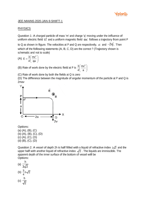 JEE Main 2020 Question Paper 9 January Morning part-1