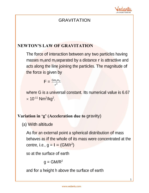 JEE Main Gravitation Revision Notes part-1