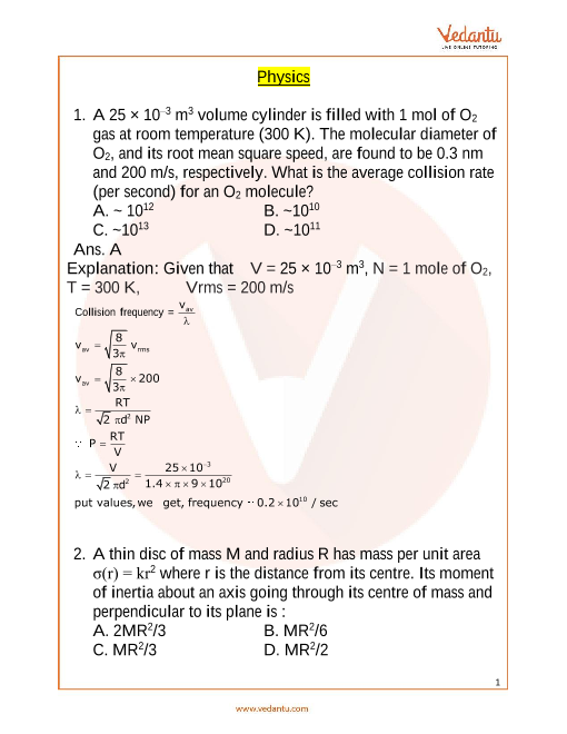JEE Main 10 April 2019 Physics Question Paper Morning Shift 1 part-1