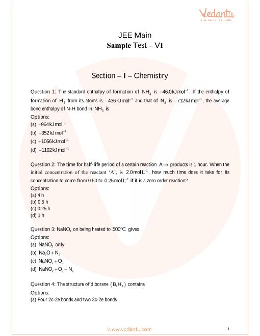JEE Main Sample Paper 6 part-1