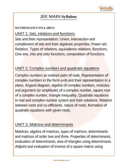 JEE Main Syllabus part-1